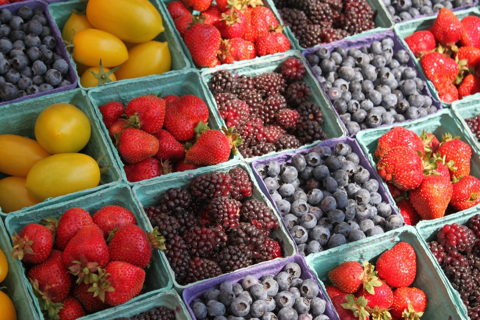 strawberries, blueberries, blackberries and cherry tomatoes during a summer harvest