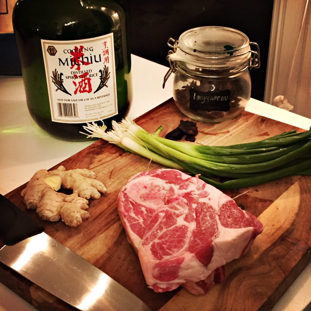 lamb, fresh ginger, green onions, longan berry and cooking wine for soup
